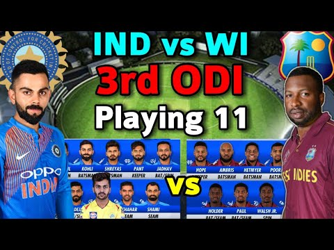 India Vs West Indies 3rd ODI Match 2019 India Team Playing 11 | India Vs West Indies ODI Playing 11