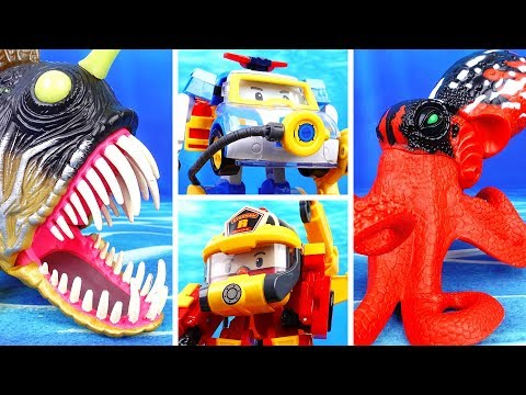 Thumbnail: Deep Sea Monsters in The Brooms Harbor~! Go Go Robocar Friends Protect Brooms Town