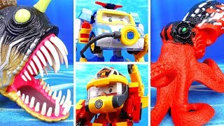 Deep Sea Monsters in The Brooms Harbor~! Go Go Robocar Friends Protect Brooms Town
