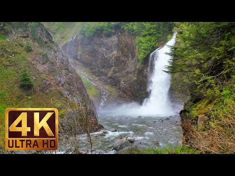 2 Hour Video of a Waterfall in 4K Ultra HD Relaxation Video with Water Sounds | Franklin Falls, WA