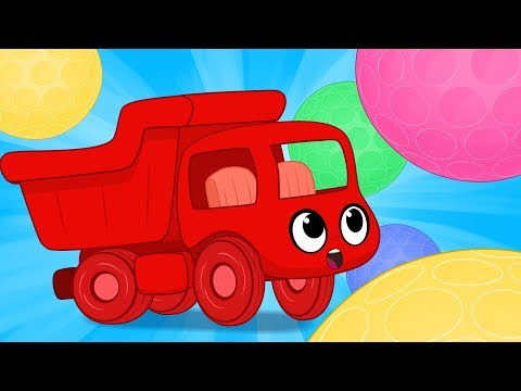 My Magic Dump truck and the Magic Bouncy Balls! Vehicle videos for kids