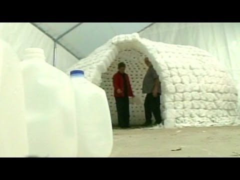 Ridiculist build your own milk jug igloo youtube for How to build an igloo out of milk jugs