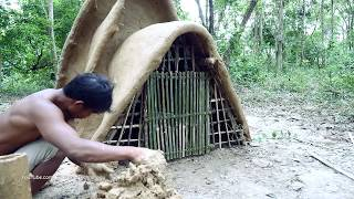 Primitive Technology, Make bamboo door for three pleat tribal mud huts