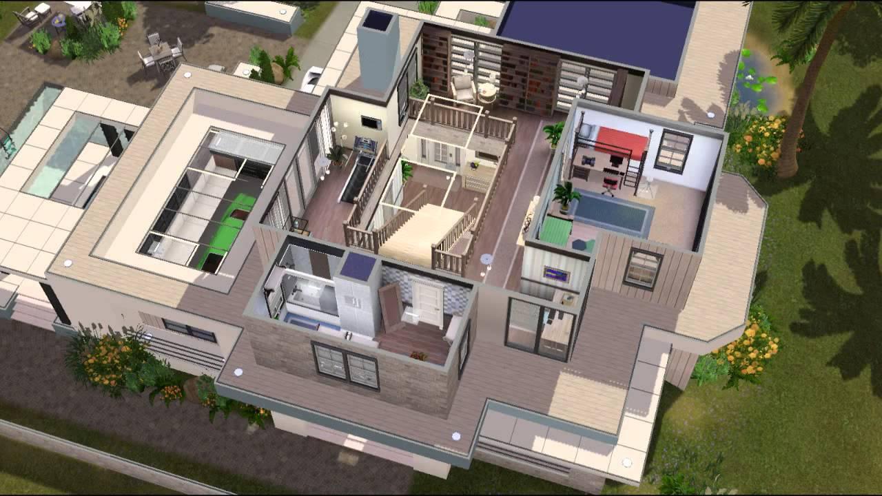 The sims 3 modern family house youtube for Modern family house 90210