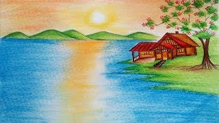 Natural Scenery Drawing - How To Draw Nature Scenery with Sunrise step by step