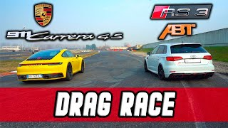 "RS3 ABT vs PORSCHE 911(992) CARRERA! ""IN QUANTO GIRA?"" EP.4 DRAG RACE 0-100KM/H E PISTA."