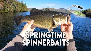 How to Fish for Bass in the Spring - Spinnerbaits Catch BIG Spring Bass