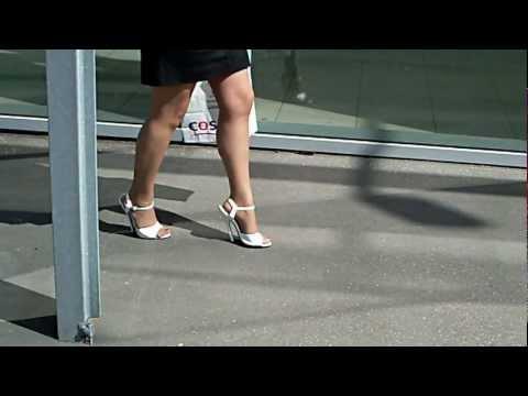 6inch highheels white sandals walk.wmv