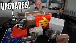 homepage tile video photo for Unboxing MAJOR UPGRADES for the AWD Miata! - Big Turbo, Clutch & Flywheel, Suspension, & More