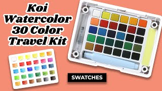 koi watercolor swatch chart 30 color travel kit