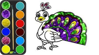 How to Draw a Peacock for Kids | Glitter color | Drawing and Coloring