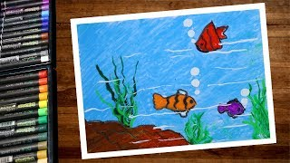 How to draw underwater scenery using oil pastel step by step