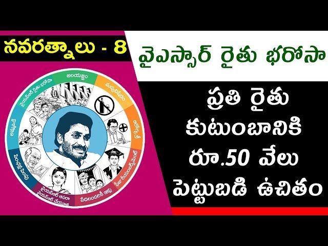YS Jagan Mohan Reddy's Promises | #Navaratnalu 8 | #YSRRythuBharosa