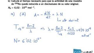 Periodo de semidesintegración problema resuelto de fisica