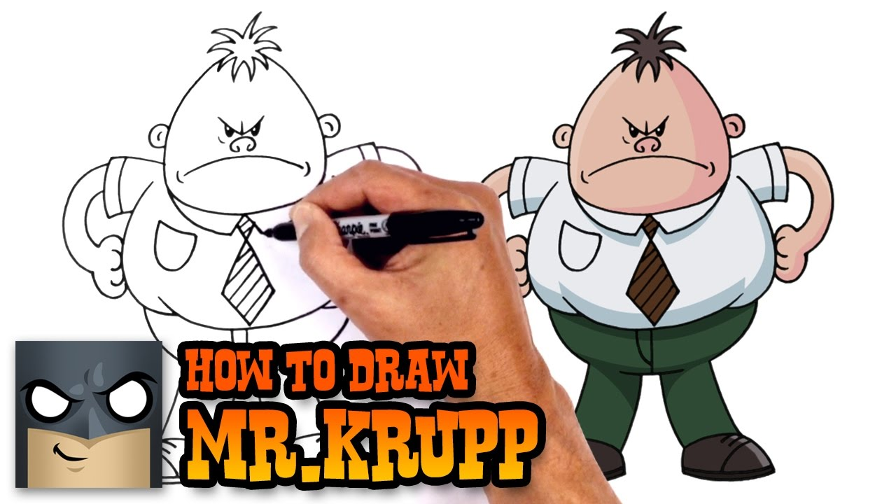 how to draw mrkrupp captain underpants youtube
