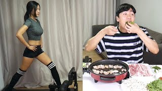 韩国淘气弟弟挑衅在健身的姐姐,姐姐究竟能不能坚持...삼겹살 먹방으로 누나 운동 방해하기