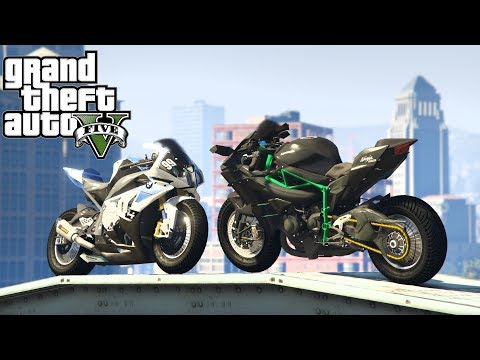 KAWASAKI VS BMW w GTA 5 SINGLEPLAYER - TEST I STUNTY NINJA H2R - S1000 RR  #293 [PL/PC]