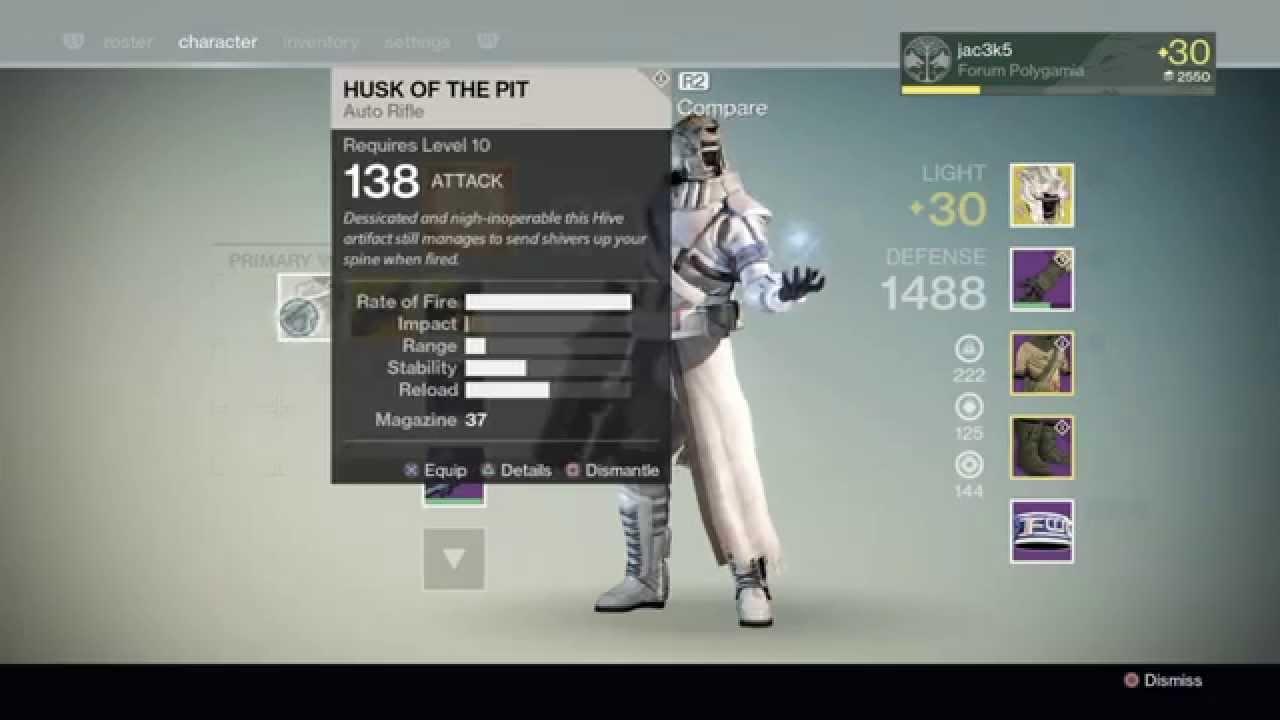 Destiny husk of the pit auto rifle blades of crota youtube