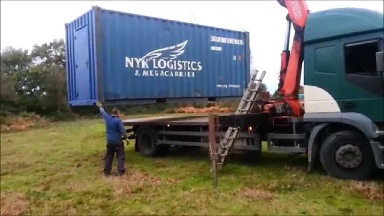 Shipping container house uk part 2 delivery and temporary foundations youtube - Foundations for shipping container home ...