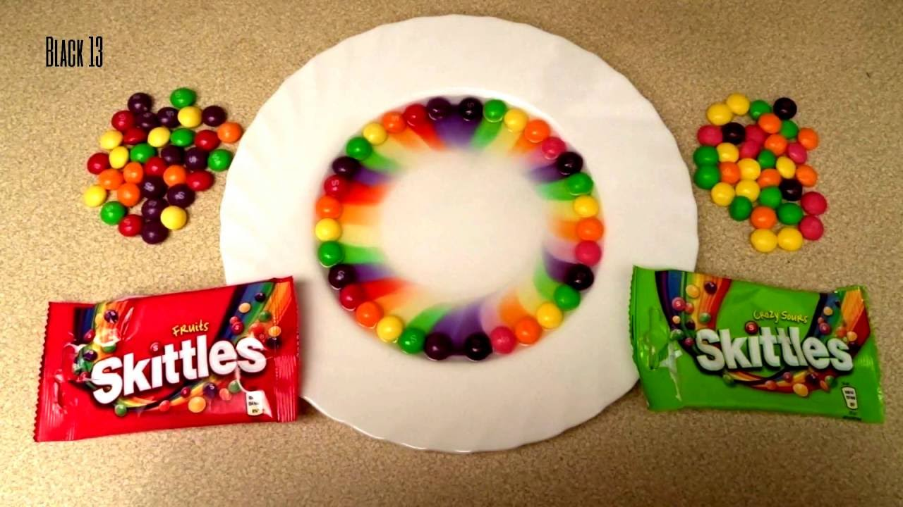 Skittles Rainbow Sweet VS Sour Magic Trick With Boiling Water - Pouring hot water on skittles creates a magical rainbow