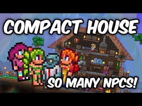 Terraria 1.3.2 Compact NPC House!   Almost Infinite House Design!   Post 1.3.1 Tutorial