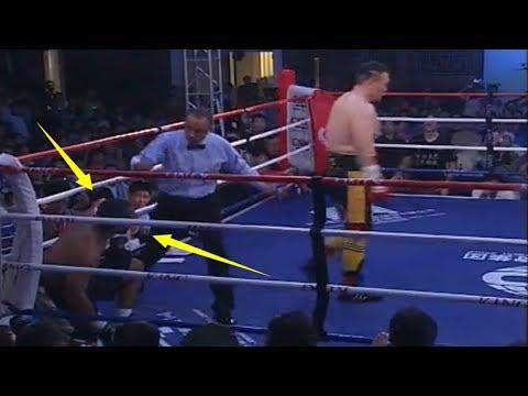 美国壮汉激怒19战19胜中国张君龙,结果被三次击倒被打懵KO了