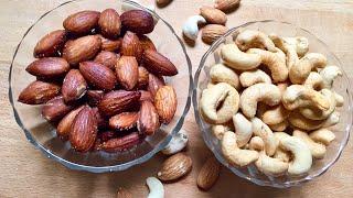 എളുപ്പത്തിൽ ROASTED NUTS ഉണ്ടാക്കാം||LCHF സ്പെഷ്യൽ||Roasted Almond&Cashew Nuts/KETO Recipe Malayalam
