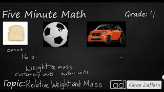 4th Grade Math Relative Weight and Mass