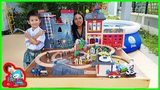 น้องบีม | รีวิวของเล่นไม้ รถไฟ ปราสาทมังกร สถานีดับเพลิง Toys