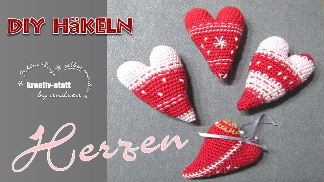 DIY Häkeln - Amigurumi Herzen 3D mit leichter Stickerei - Wie man ...