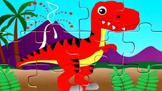 Красный Динозавр собираем деревянные пазлы для малышей с животными динозавры