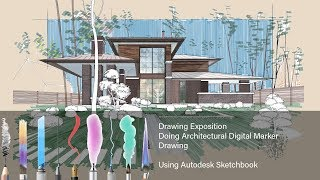 How To Do Architectural Digital Marker Drawing Using Autodesk Sketchbook