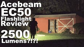Acebeam EC50 Flashlight Review and comparison to the Olight R50 Seeker- 2500 lumen Cree XHP70 Torch
