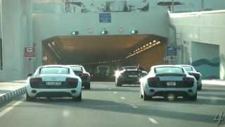 8 Audi R8s in a Tunnel!
