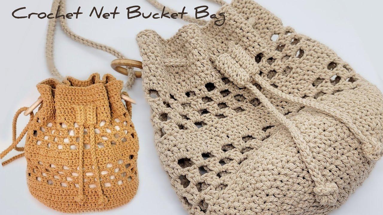 코바늘 네트 버킷백. 초보자분들도 가능해요~! 쉬운 패턴으로 예쁜 복주머니가방 같이 만들어봐요~^^ Crochet Net Bucket Bag