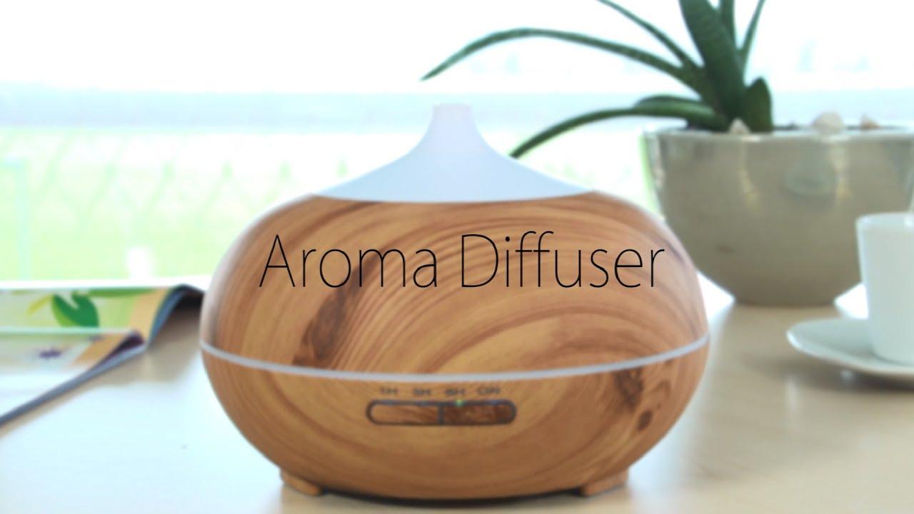 Ultraschall Luftbefeuchter Holz Aroma Diffuser Aromatherapie LED farbig GO 01