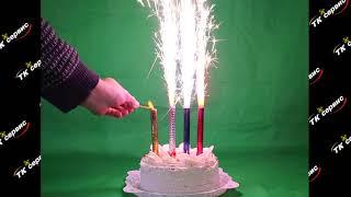 Большой обзор пиротехнических свечей, фонтанов в торт. Взрыв торта мощной петардой.