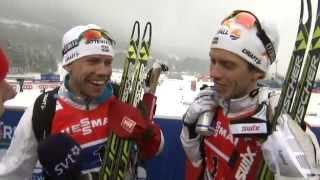 Emil Jönsson och Marcus Hellner efter dagens silver i sprintstafett.