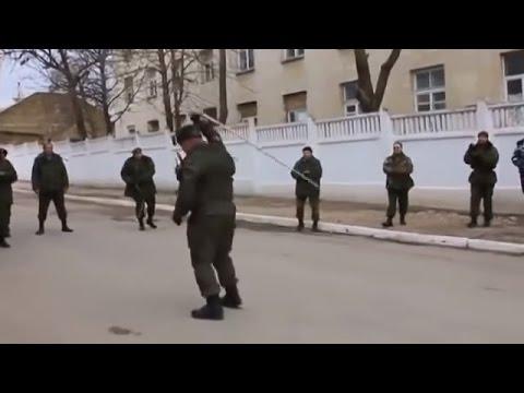 Ukraine war  - Russian Don cossacks whip-dancing in Donetsk Ukraine