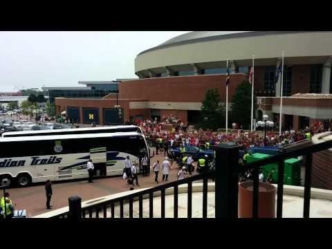 Real Madrid entering the Michigan Stadium