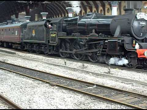 LMS Black 5 4-6-0 No  45407 'The Lancashire Fusilier' departing York with  wheel slip 21/7/09