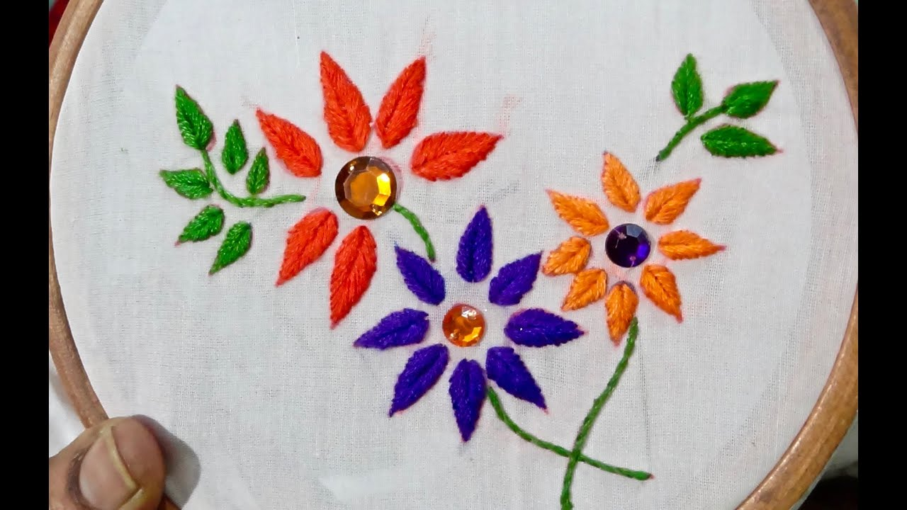 Embroidery Design Half Satin Stitch Embroidery Youtube