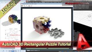Autocad 3D Modeling Tutorial Rectangular Puzzle Exercise 37