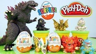 2014 Godzilla Full Toys Set + 2 Kinder Surprise Eggs + 1 Play doh Egg By Disney Cars Toy Club