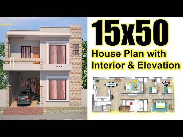15x50 House plan with Interior & Elevation