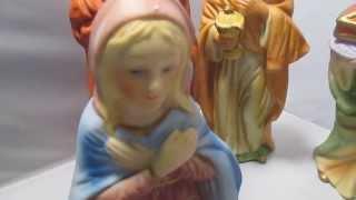 Ceramic Nativity Set Figures 9 Homco