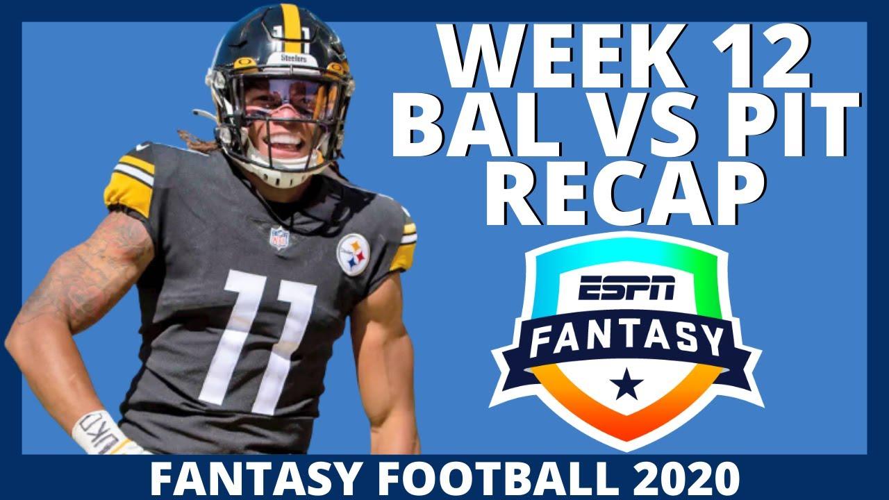 2020 Fantasy Football - Ravens vs Steelers Recap - NFL Week 12 Recap