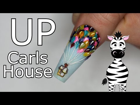 Extreme 3D Up House and Balloons Acrylic Nail Art Tutorial thumbnail
