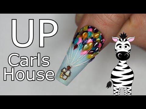 Extreme 3D Up House and Balloons Acrylic Nail Art Tutorial thumbnail