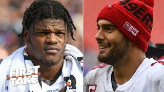 Stephen a. smith, max kellerman and louis riddick discuss which qb needs to have a bigger game when lamar jackson's baltimore ravens face jimmy garoppolo's s...